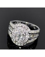 2ct Diamond Wedding Ring Engagement Anniversary 14K White Gold Round Halo Style