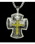 Diamond Cross Charm Pendant Yellow & White diamonds White Gold 9.5ct Custom XL