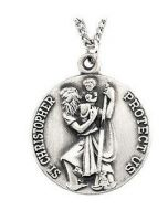 ROUND ST. CHRISTOPHER PENDANT MEDAL CHARM WITH 18 INCH CHAIN ST. SILVER 18MM