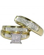 Yellow Gold Trio Wedding Set Mens Women Rings Real 0.38ct Diamonds Princess Pave
