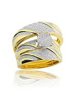 10K Yellow Gold His and Her Wedding Rings Set 0.40cttw Diamonds 16mm Wide Trio Set(i2/i3, i/j)