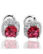 Princess Cut Red Cz Halo Earrings Studs in Sterling Silver CZ Width 7mm Screw back