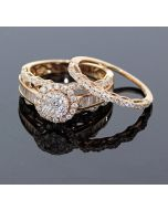 Rose Gold Bridal Set Womens Engagement ring and Band Set 1.50ctw Diamonds and 14K Rose Gold