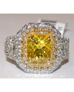 Yellow and White Diamond Wedding Ring Custom Made