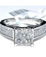 ENGAGEMENT RING 1CT WEDDING RING 10K WHITE GOLD SQUARE TOP ROUND DIAMONDS PAVE