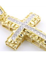Diamond Cross Pendant Mens Nugget Style Real 10K Gold 0.75ctw Diamonds 2 Inch Tall