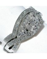 DIAMOND WEDDING SET 2 PC ENGAGEMENT RING + BAND .53CT FILGREE PRINCESS CUT HALO