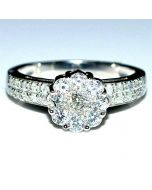 DIAMOND WEDDING ENGAGEMENT RING 0.77CT WHITE GOLD SOLITAIRE STYLE ILLUSION SET