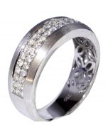 8mm Mens Wedding Band 0.69ct 14K White Gold Comfort Fit Sand Finish