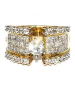 2ct Diamond Princess Cut and Round Wedding Ring 14K Yellow Gold 12mm Wide