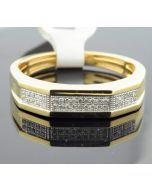 Mens Wedding Ring 10K Yellow Gold 0.10ctw Diamond 5mm Wide