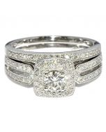 WEDDING SET 0.78CT TWO PIECE ENGAGEMENT RING + BAND 14K WHITE GOLD HALO ROUND