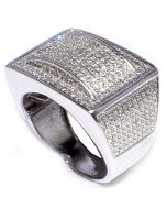 MENS DIAMOND RING WHITE GOLD FINISH 0.33CT REAL SILVER WEDDING PINKY RING COMFORT FIT