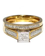 DIAMOND WEDDING SET YELLOW GOLD TWO PIECE ENGAGEMENT RING + WEDDING BAND .25CT