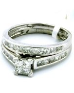 1CT PRINCESS CUT BRIDAL WEDDING SET ENGAGEMENT RING & BAND 10K WHITE GOLD