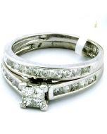 1CT PRINCESS CUT BRIDAL WEDDING SET ENGAGEMENT RING & BAND 10K WHITE GOLD