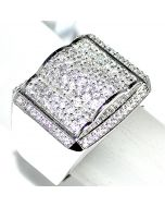 1.5CT DIAMOND MENS RING 14K WHITE GOLD ROUND SI DIAMONDS COMFORT FIT PINKY RING
