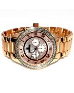 Diamond Watch for Men Ice Time Victory 0.10ctw Diamonds 44mm Dial Rose