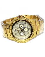 Diamond Watch for Men Ice Time 0.25ctw Diamonds 45mm Dial Yellow
