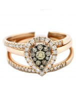 Rose Gold Cognac and White Diamond Bridal Set 0.5ct Engagement Ring and 2 Matching Wedding Bands Pear shaped