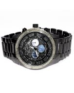 Diamond Watch for Men Ice Time Victory 0.10ctw Diamonds 44mm Dial Black Metal