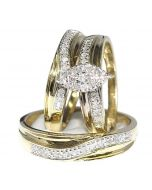 Yellow Gold Trio Rings Set Mens and Womens 0.33ct 10K 3pc set Marquise shaped