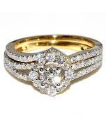 1ct Bridal Set 14K Yellow Gold Round Solitaire Center Certified Diamonds 2pc Set