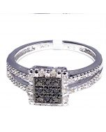 Black and White Diamond Halo Ring Square top 0.11ct Engagement Promise Ring