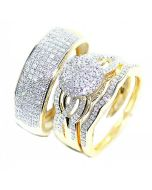 10K Gold His and Her Rings Trio Set Extra Wide 18mm 0.7ct Diamonds