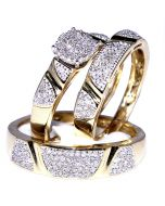 0.5ct Diamond His And Her Trio Wedding Rings Set 10K Yellow Gold Mens 5.5mm wide Womens 10MM