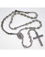 "Men's Rosary Necklace Chain Simulated Cubic Zarcons Ful White CZ 8mm 40"" Tennis"