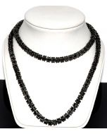"""Men's Necklace Chain Simulated Cubic Zarcons Ful Black CZ PVD 7mm 30"""" Tennis"""