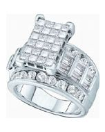 1CT DIAMOND PRINCESS CUT WEDDING RING WHITE GOLD 10K WIDE 3 IN 1 BRIDAL RING