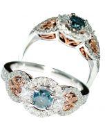 BLUE DIAMOND AND WHITE DIAMOND RING & ROSE GOLD + WHITE GOLD ENGAGEMENT .9CT 10K