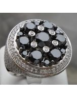 Black and White Diamond Men's Ring Custom Made 8ct