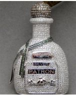 Tequila Patron Bottle Custom made White Gold 4ct Diamonds