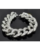 Diamond Bracelet Mens Custom made Cuban Link Curb Link 10K Solid White Gold 16ct