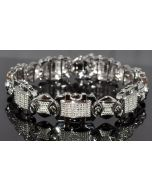 MEN DIAMOND BRACELET 0.75CT REAL DIAMONDS WHITE GOLD FINISH STERLING SILVER 8.5""