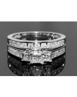 1CT BRIDAL SET PRINCESS CUT CTR 3 STONE WHITE GOLD & SIDE DIAMOND + WEDDING BAND