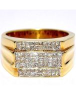 1.1ct Diamond Men's Wedding Ring 14K Gold Comfort Fit Wide 12mm Princess Cut
