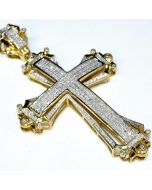 Gold Cross Charm 2.5 Tall 1.75ct Real Diamonds 10K Yellow Gold Mens big Pendant