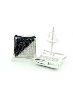Black and White Diamond Kite Earrings 0.25ct 9mm Wide Sterling Silver Screw Back