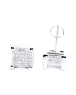 Cube Shaped Diamond Mens Stud Earrings Sterling Silver 8mm Wide Screw Back 0.3ctw