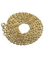 10K Yellow Gold Rice Typhoon Mooncut Chain Necklace 2MM 16-24 Inches