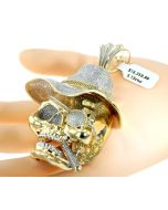 10K Yellow Gold Skull with Top Hat and Cigar Big Charm Pendant 5.13ctw Diamonds