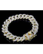 14K Gold Finish Miami Link Cuban Link Bracelet Mens 9 Inch Long 9mm Wide Iced Out Bracelet