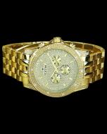 Mens Diamond Watch Ice Time Gold Tone Storm 48mm Diamond Cut Dial 0.10ctw Diamond