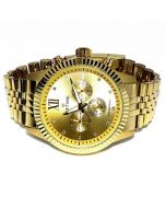 Diamond Watch for Men Ice Time Jubilee 0.10ctw Diamonds 44mm Dial Yellow