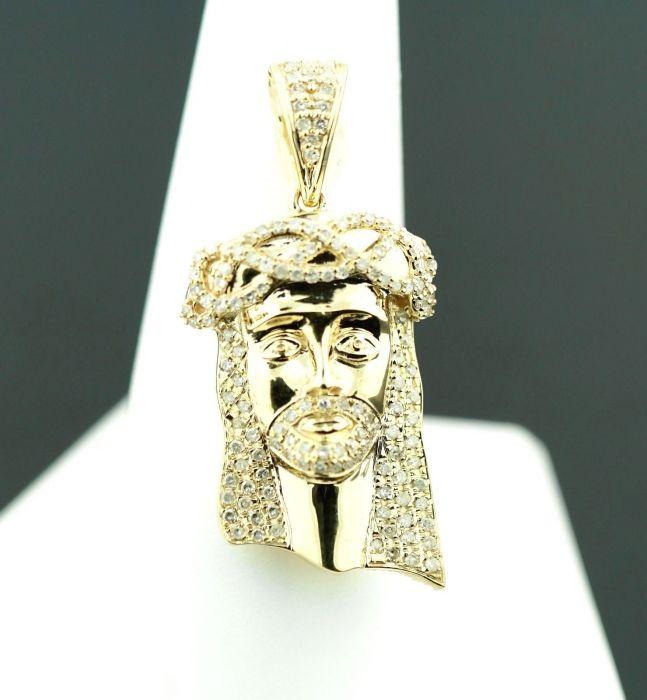 aef993b6e78f 10K GOLD REAL DIAMOND JESUS PIECE HEAD PENDANT 36MM CHARM JESUS FACE SOLID  GOLD