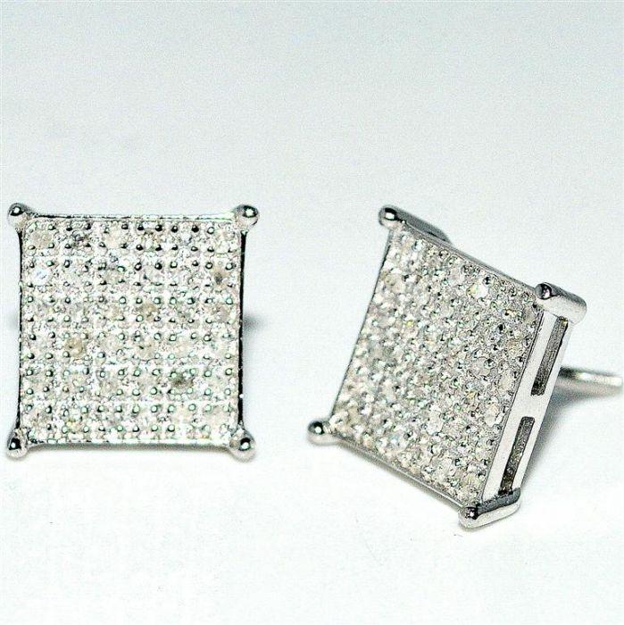 68e981a49 8mm Large Diamond Stud Earrings Square Princess Cut Shape .15ctw Real Diamonds  Big Silver Screw Back